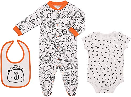 Mini B. by Baby Starters 3-Piece Layette Set- Black and White/Little Man Cub, 3-6 Months