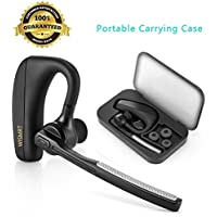 Bluetooth Headset, WISMRT V4.1 Hands Free In Ear Wireless Earpiece Earbuds Car Earphones Headphones with Mic Noise Cancelling for Office/Business/Trucker/Driver Support iPhone,Samsung,Cell phones