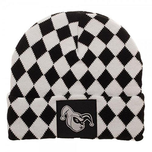 846a9dc969c Image Unavailable. Image not available for. Color  Harley Quinn Black and  White Diamond Logo Pattern Soft Winter Knit Hat