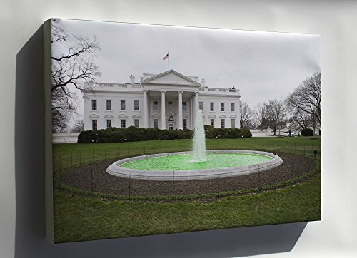 Canvas 24x36; Green Fountain At White House On St Patricks Day home wall art decor