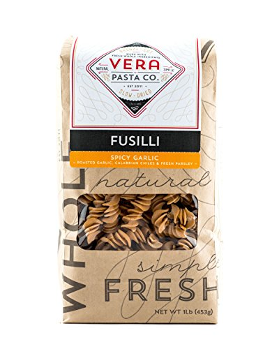 Vera Pasta Spicy Garlic Fusilli - Gourmet Italian Pasta for Authentic Taste & Texture - Artisan, Fresh Pasta Made in the USA - All Natural, High-Protein Fusilli Pasta - 1 Pound (Everyday Italian Gift Baskets Giada)