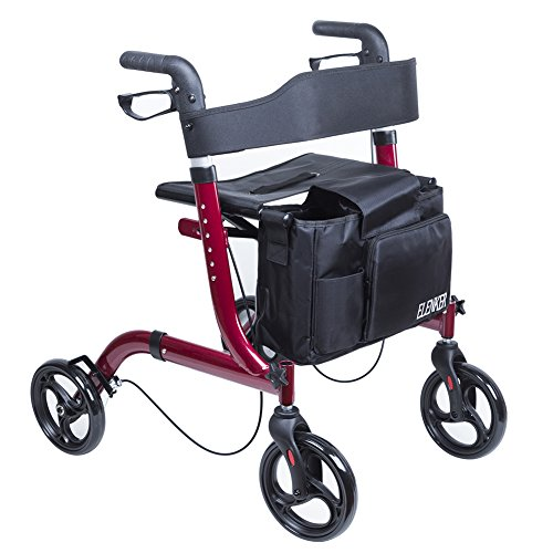 ELENKER Medical Euro Style Four Wheel Walker Rollator Red by ELENKER (Image #2)