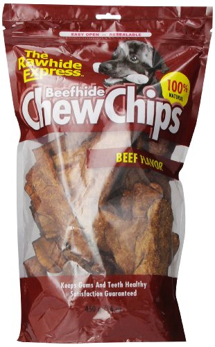 The Rawhide Express Beef hide Chew Chips Beef Flavored (Great Reward or Treat) 16oz