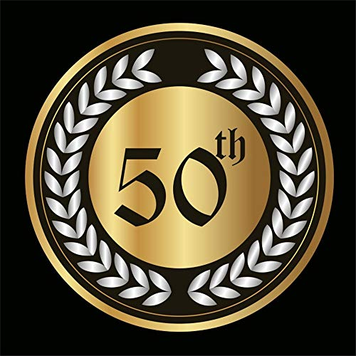 LFEEY 6x6ft 50th Gold Wedding Anniversary Photo Backdrop Silver Color Barley Emblem Badge Annual Business Enterprise Company School Photography Background Photo Studio Props