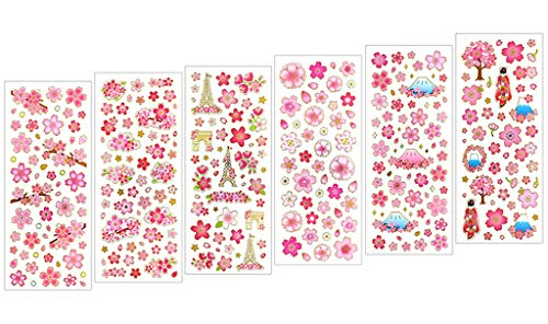 Kinteshun Sakura Scrapbooking Stickers,Japanese Style Self-adhensive DIY Decorative Cherry Blossoms Paster Decals Sticker for Scrapbooking or Card Making (6pcs with Different -