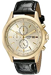Citizen Men's AN3512-03P Gold-Tone Stainless Steel Watch with Black Leather Band