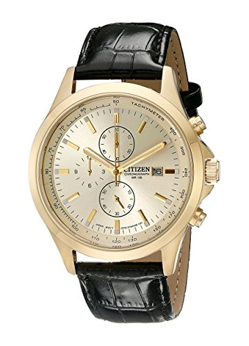 Citizen AN3512 03P Gold Tone Stainless Leather