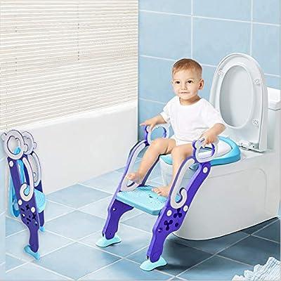 LADUO Asiento Aseo Escalera Asiento para WC del tocador de niños Plegable con Escalón Ajustable y Cojín Suave Fácil de Montar (Mono): Amazon.es: Bebé