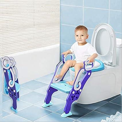 LADUO Asiento Aseo Escalera Asiento para WC del tocador de ni/ños Plegable con Escal/ón Ajustable y Coj/ín Suave F/ácil de Montar Mono)
