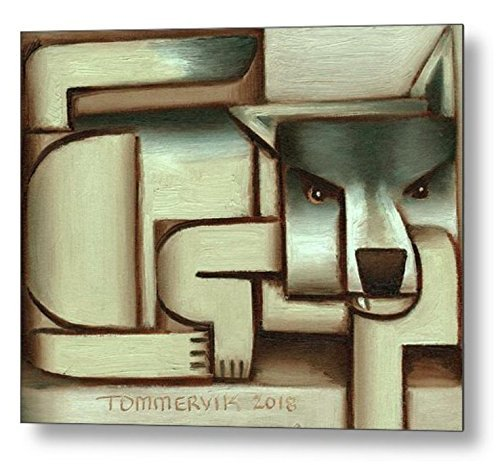 amazon com tommervik abstract lone wolf metal art print wolf wall