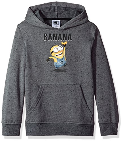 Despicable Me Big Boys' Minion Fleece Pullover Hoodie, gray, Small-10]()
