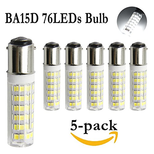 T4 Dc Bayonet (BXDGD Ba15d LED Light Bulbs Double Contact Bayonet Base 120V T4 JD Type 5W Dimmable Daylight White 50 Watts Halogen Lamps Equivalent DC Bayonet Base Halogen Light Bulbs (Pack of 5))
