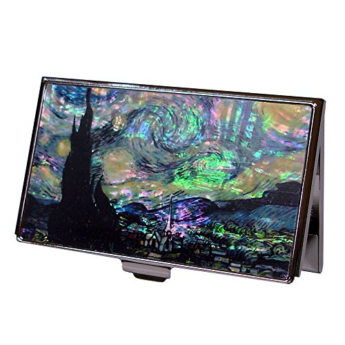 Antique Alive Mother of Pearl RFID Blocking Protection Starry Night by Van Gogh Art Painting Business Credit Name Card Holder Case Metal Stainless Steel Engraved Slim Purse Pocket Cash Money Wallet