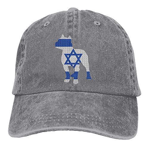 - Yuan Kun Patriotic Pitbull Israel Flag Vintage Denim Baseball Cap Unisex