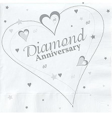 18 x Luxury Diamond 60th Wedding Anniversary Party Napkins Creative converting