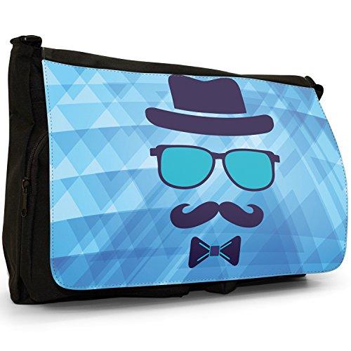 Tela Grande Trendy Computer Borsa Guy Con Nero Guy Baffi A Misura Colore Hipster Blue Invisible Tracolla Per Face In Portatile Scuola XCwHqc7