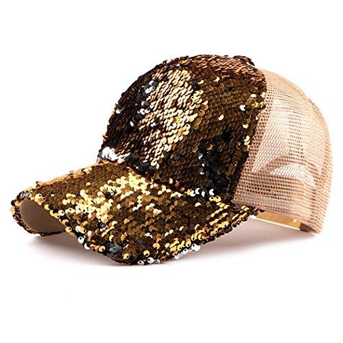 Gold Sequin Fedora - Sequin Hat,Baseball Hat Reversible Magic Sequin Adjustable Baseball Cap (Golden)