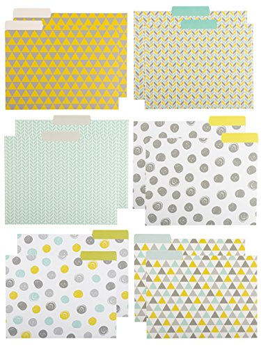 File Folders - 12-Pack Decorative File Folders, 6 Geometric Colorful File Folders, Designer File Folders - Letter Size 1/3 Cut 1/2 inch Top Memory Tab, 11.5 x 9.5 inches -
