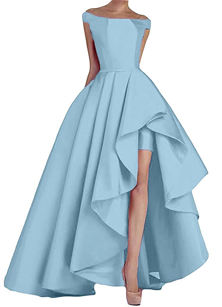 Promworld Womens Elegant High Low Evening Dress Ruffled Satin Prom Dresses: Amazon.co.uk: Clothing