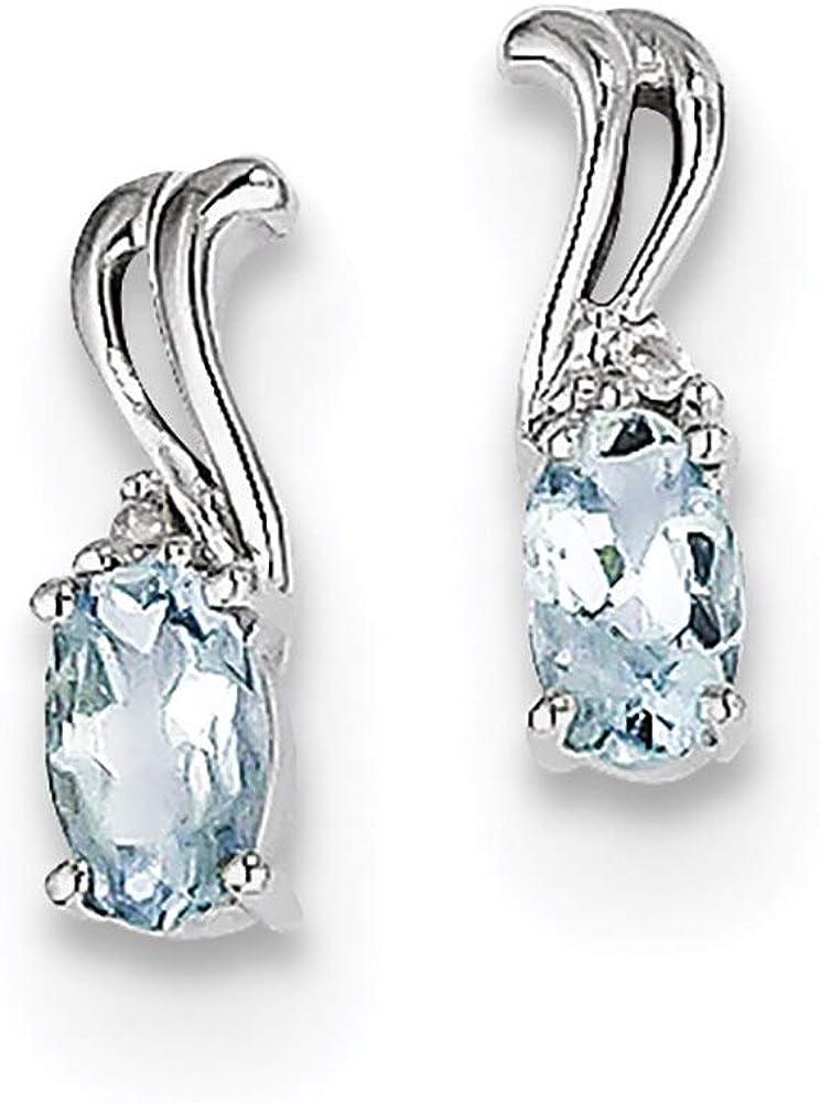 Lex /& Lu Sterling Silver w//Rhodium Diamond /& Aquamarine Oval Earrings LAL111898