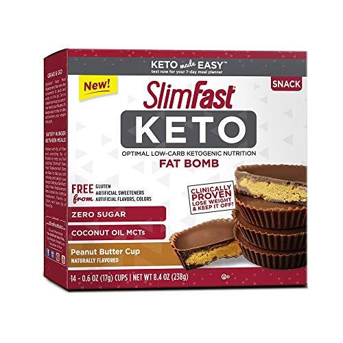 SlimFast Keto Fat Bomb Snacks, Peanut Butter Cup, 17 Grams, 14 Pack Box ()