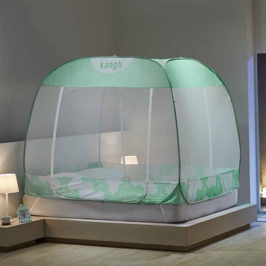 Mosquito Net Pop Up for Bed Queen Size, No Assembly Required Insect Netting Polyester, 3 Door Foldable Mosquito Netting for Baby Toddlers Kids Adult (Color : Green, Size : 6 ft Bed)