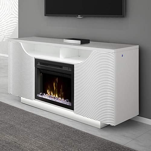 (DIMPLEX Ethan Media Console Fireplace with Glass Ember Bed Gloss White/1500)