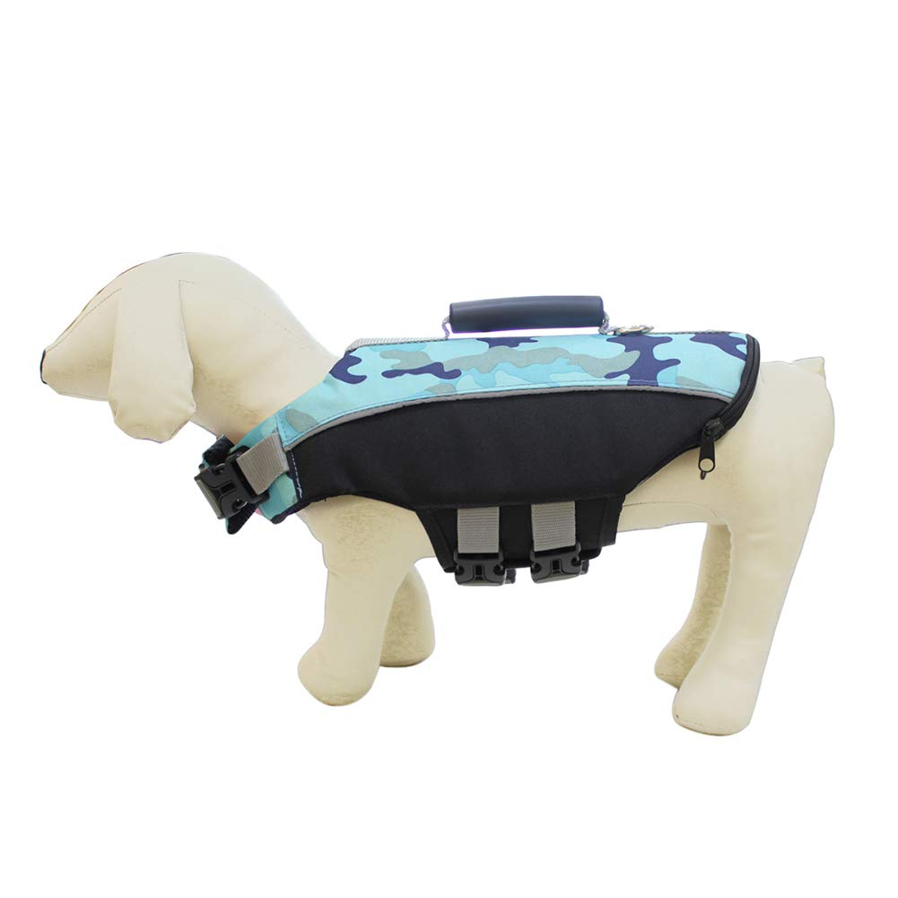 bluee LargeDog Life Jacket,Dog Safety Life Coat Neck Circumference can Adjusted Safety Reflective Strip Buoyancy D Buckle Design can Connected Traction Rope,Green,L