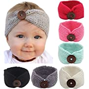 Gellwhu 6-Pack Baby Boy Girl Button Headbands Knit Head Wrap Knotted Hair Band (6 Colors Set A)