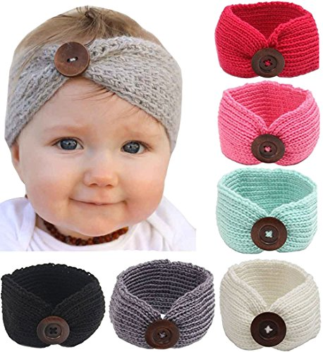 Gellwhu 6-Pack Baby Boy Girl Button Headbands Knit Head Wrap Knotted Hair Band (6 Colors Set -