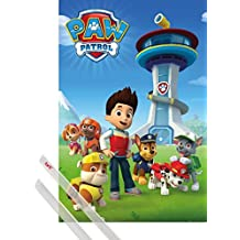 Poster + Hanger: Paw Patrol Poster (36x24 inches) Ryder And His Dogs And 1 Set Of Transparent 1art1® Poster Hangers