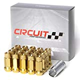 Circuit Performance Forged Steel Extended Open End Hex Lug Nut for Aftermarket Wheels: 12x1.25 Gold - 20 Piece Set + Tool