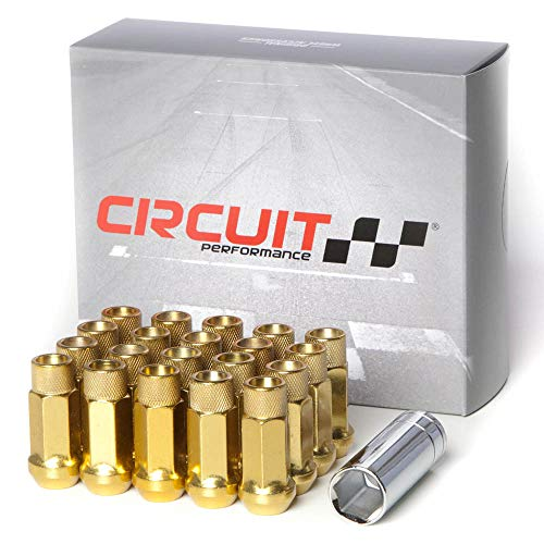 Extended Performance Set - Circuit Performance Forged Steel Extended Open End Hex Lug Nut for Aftermarket Wheels: 12x1.25 Gold - 20 Piece Set + Tool