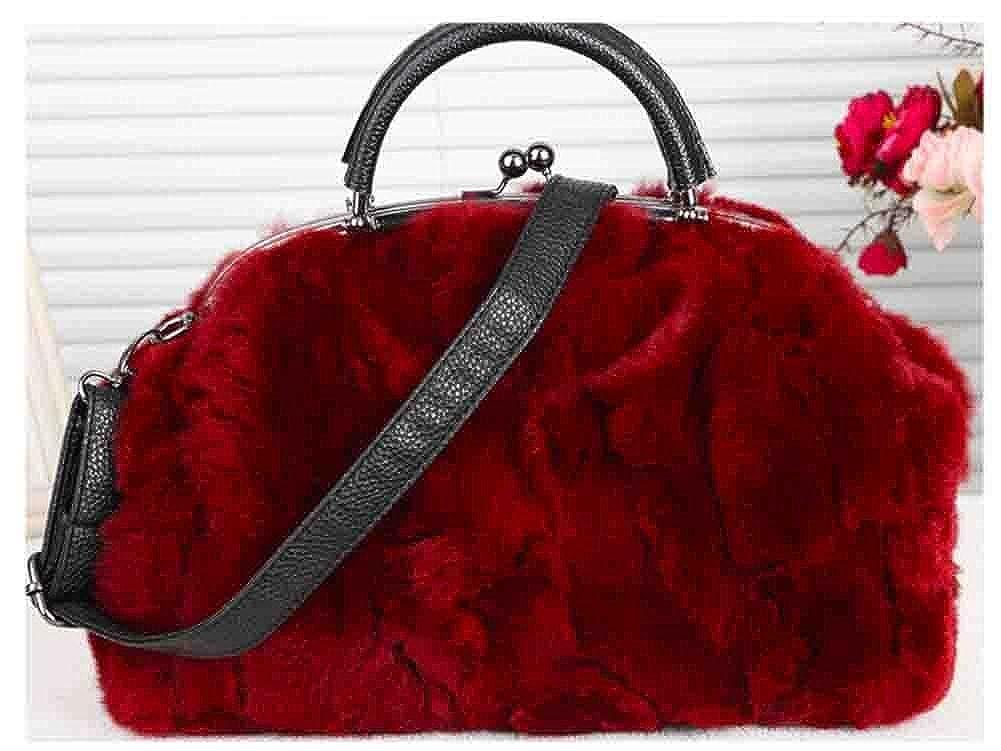Red Joyloading Fashionable Luxury Rabbit Fur Lady Top Handle Handbags