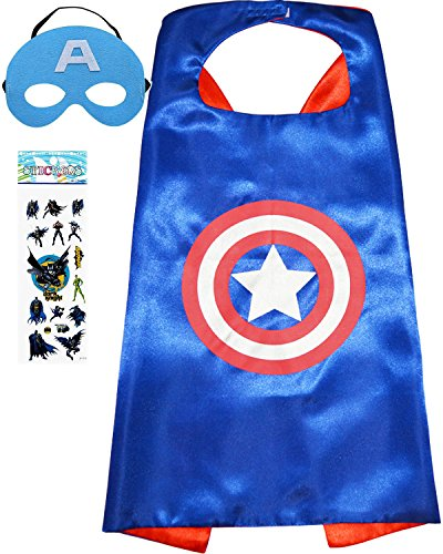 Superhero Costume and Dress up for Kids - Satin Cape and Felt Mask (Captain America) -