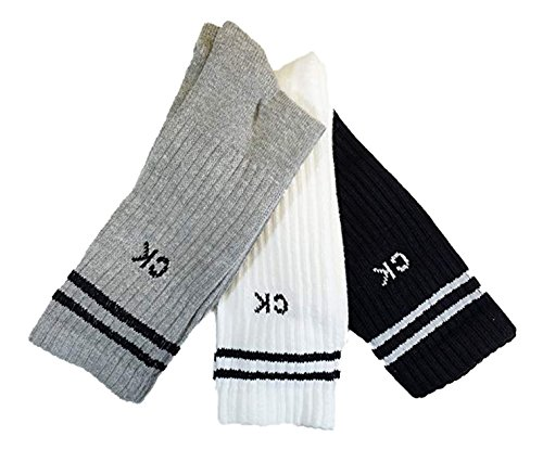 Calvin Klein 3 Pk Sport Pack Cotton Athletic Crew Socks (One Size, White Multi Color stripe) by Calvin Klein
