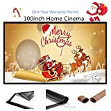Mileagea 100 inch 16:9 Portable Projection Screen Outdoor PVC Fabric Widescreen Home Cinema Projector Screen