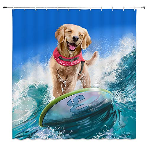 AMFD Creative Dog Surfing at Sea Shower Curtain Cute Pet Animal Summer Holiday Waves Bathroom Curtains Polyester Fabric Waterproof 70 X 70 Inches Include Hooks Blue Art
