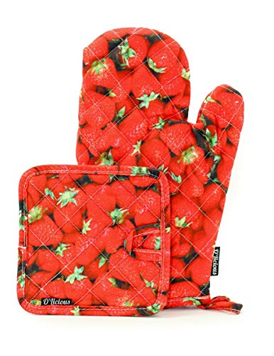 - Fashion Kitchen Oven Mitt&Pot Holder Set:Strawberry|Baker,Chef,Mom,Grandma Gift