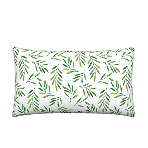Roostery Willow Organic Cotton Sateen Lumbar Pillow Cover Leaves Leaf Green Tropics Tropical Palm by Jillbyers Knife Edge Cover w Optional Insert ()