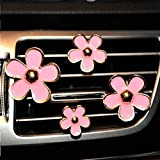 INEBIZ Car Charm Beautiful Daisy Flowers Air Vent Decorations Cute Automotive Interior Trim, 4 pcs with Different Sizes (Pink)