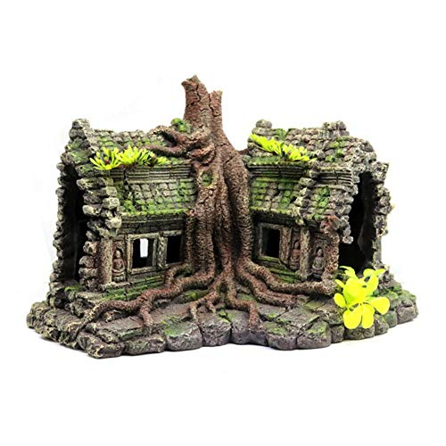 Aquarium Decoration Resin Craft Green Tree House Decoration Fish Tank Accessories