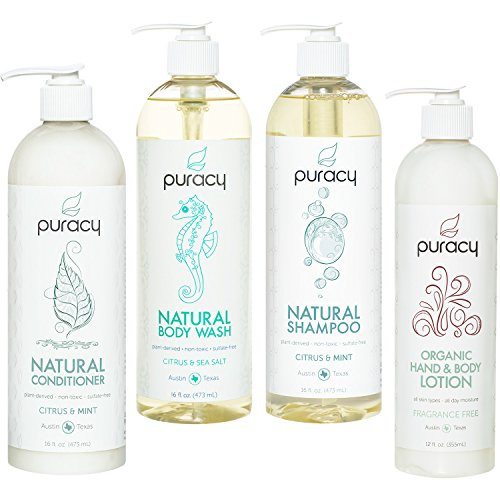 Puracy Organic Hair & Skin Care Set, Natural Body Wash, Shampoo, Conditioner, Lotion (4-Pack) Back To Basics Scented Shampoo