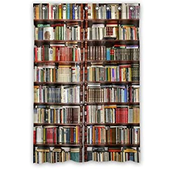 Custom Neat BookshelfLibrary Waterproof Polyester Fabric Bathroom Shower Curtain 48quot