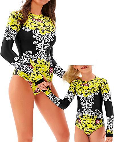 YOLIPULI Mother and Daughter Swimwear Family Matching Swimsuit Womens Rashguard Girls Swimwear Yellow Floral Mom Small