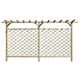 vidaXL Garden Lattice Fence with Pergola Top FSC Wood Climbing Plants Panel