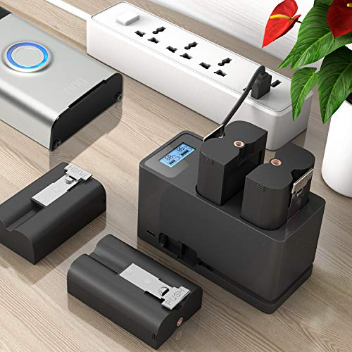 Battery and Charger for Ring, Batteries 1 Pack and Dual USB Charger for Ring Spotlight Cam Battery, Ring Video Doorbell 2, Stick Up Cam, Rechargeable 3.65V Lithium-Ion Battery
