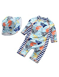 SUPEYA Baby Boys Cartoon Fish Print Sunsuits Sun Protection Rash Guards Swimsuit