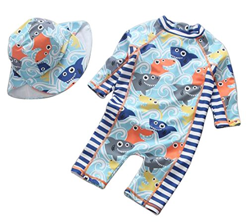Toddler Baby Boys Girls 3D Cartoon Fish Rash Guard One-Piece Swimsuit Long Sleeve Sun Protection Bathing Suit Size 9-12M (Ligh Blue)