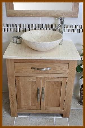 Bathroom Oak Vanity Unit With Cream Marble Top Bowl Set 502cm5025